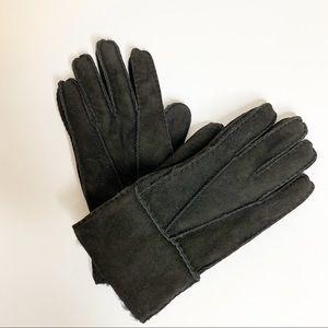 Portolano men's black shearling fur gloves Sz S